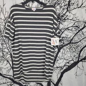 4/$25 LuLaRoe Irma Grey & White Striped Tunic XS